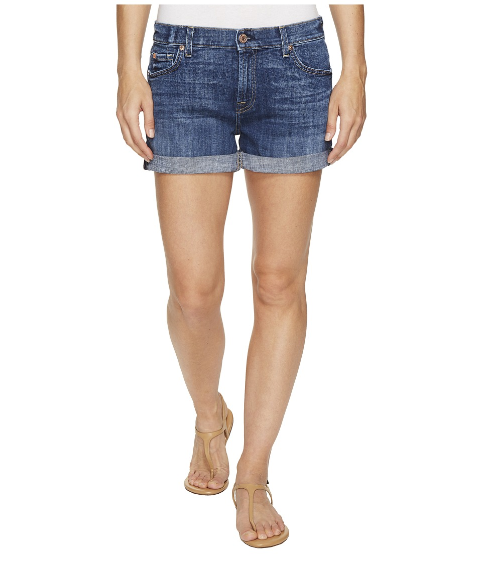 7 For All Mankind - Relaxed Mid Roll Shorts in Barrier Reef Broken Twill