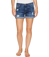 7 For All Mankind - Relaxed Mid Roll Shorts w/ Destroy in Barrier Reef Broken Twill