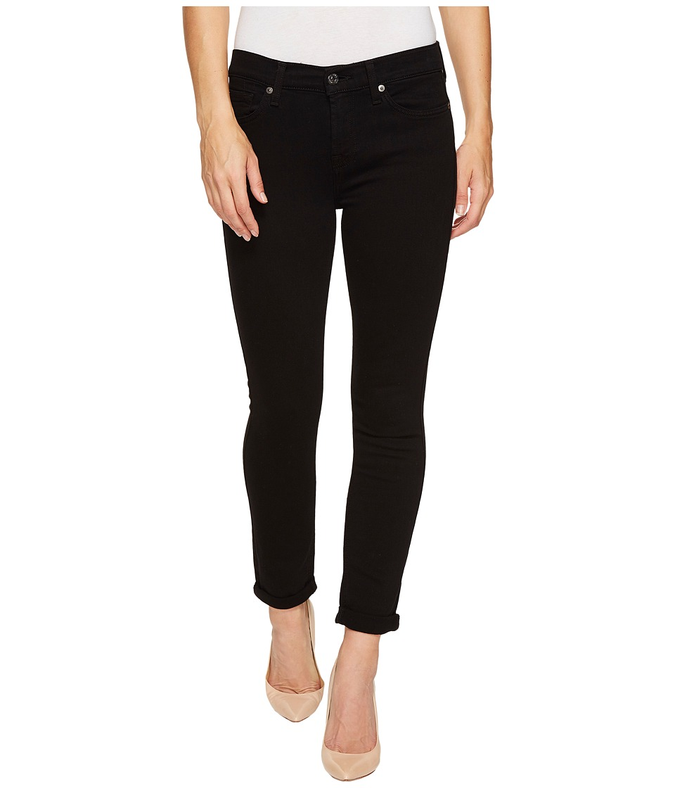 7 For All Mankind The Skinny Crop Roll w/ Squiggle in Black Twill (Black Twill) Women