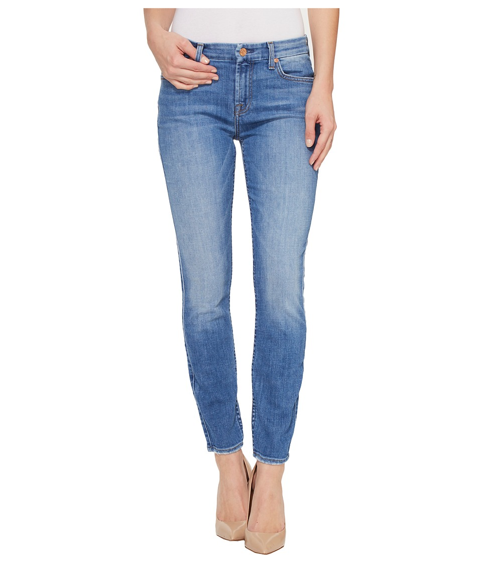 7 For All Mankind - The Ankle Skinny w/ Grinded Hem in Adelaide Bright Blue