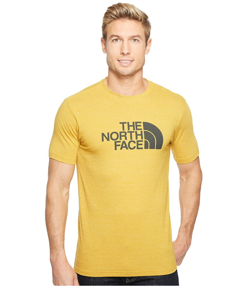The North Face Short Sleeve Half Dome Tri-Blend Tee (Arrowwood Yellow Heather/Asphalt Grey) Men