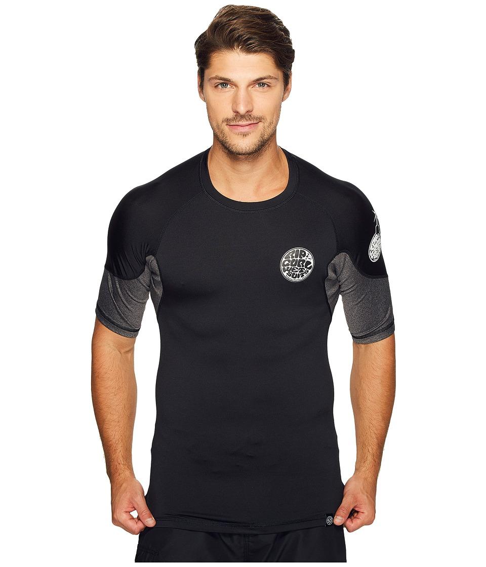 Rip Curl E Bomb Surf Rashguard Short Sleeve (Black) Men