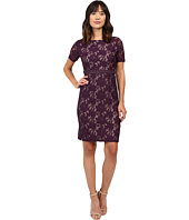Adrianna Papell - Short Sleeve Lace Sheath Dress