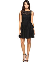Adrianna Papell - Lace Peplum Dress w/ Full Netted Skirt