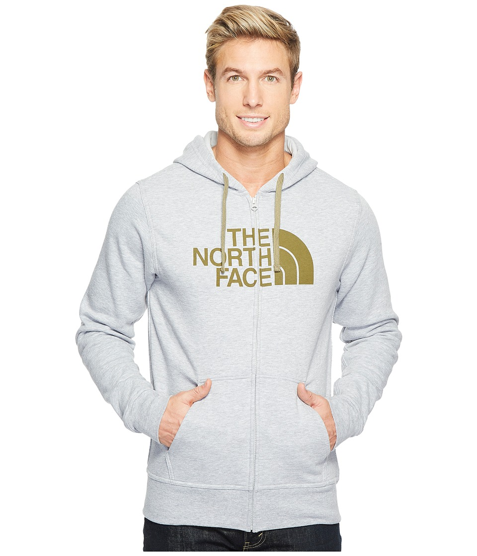 The North Face Half Dome Full Zip Hoodie (TNF Light Grey Heather/Burnt Olive Green) Men