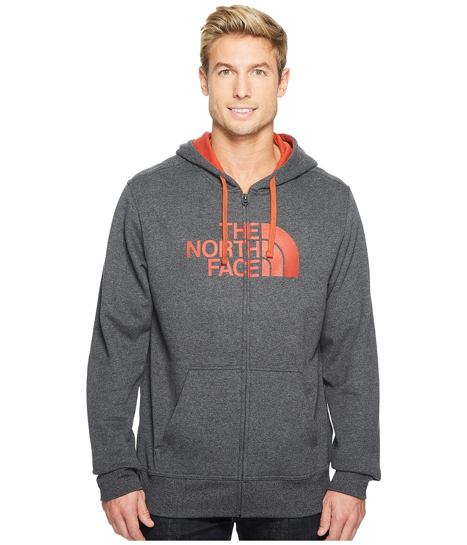 The North Face Half Dome Full Zip Hoodie (TNF Dark Grey Heather/Ketchup Red (Prior Season)) Men