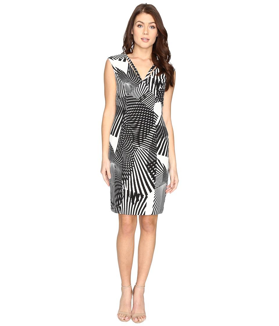 Adrianna Papell - V-Neck Cut Out Sheath Dress