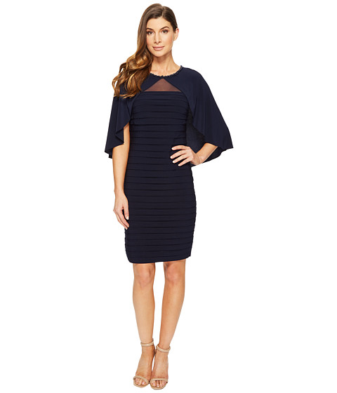 Adrianna Papell Matte Jersey Banded Cape Dress