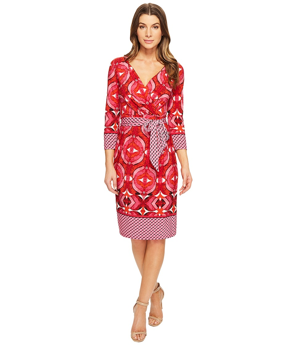 Adrianna Papell 3/4 Sleeve V-Neck Wrap Dress (Pink Multi) Women