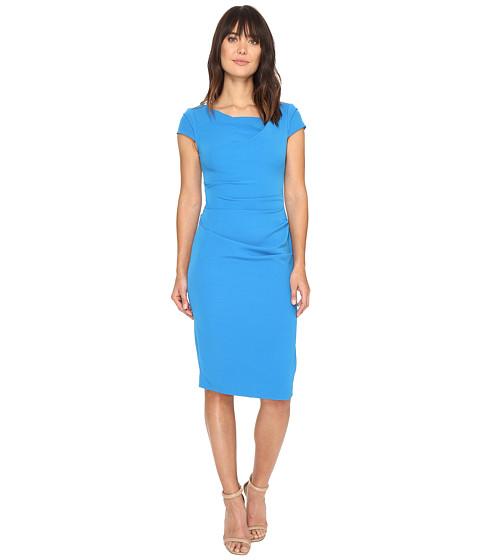 Adrianna Papell Cowl Side Rusched Sheath Dress - Regatta Blue