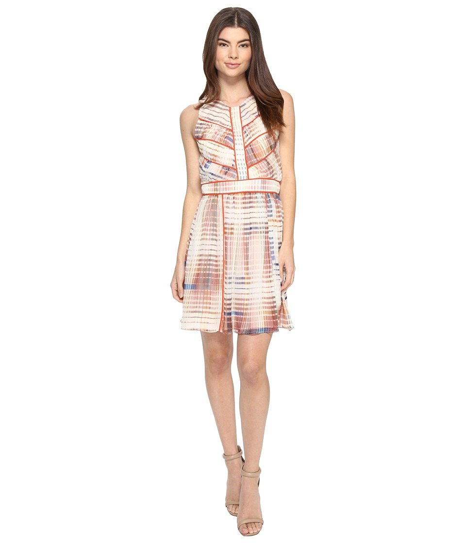 Adelyn Rae Printed Fit and Flare Dress (Ivory/Light Pink) Women