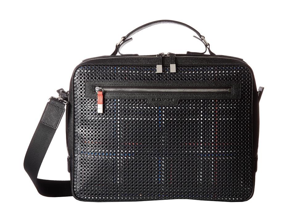 BUGATCHI Nylon with Leather Trim Brief Case (Black) Briefcase Bags