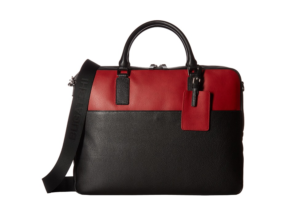 BUGATCHI Pebble Leather Full Grain Two-Tone Brief Case (Black) Briefcase Bags
