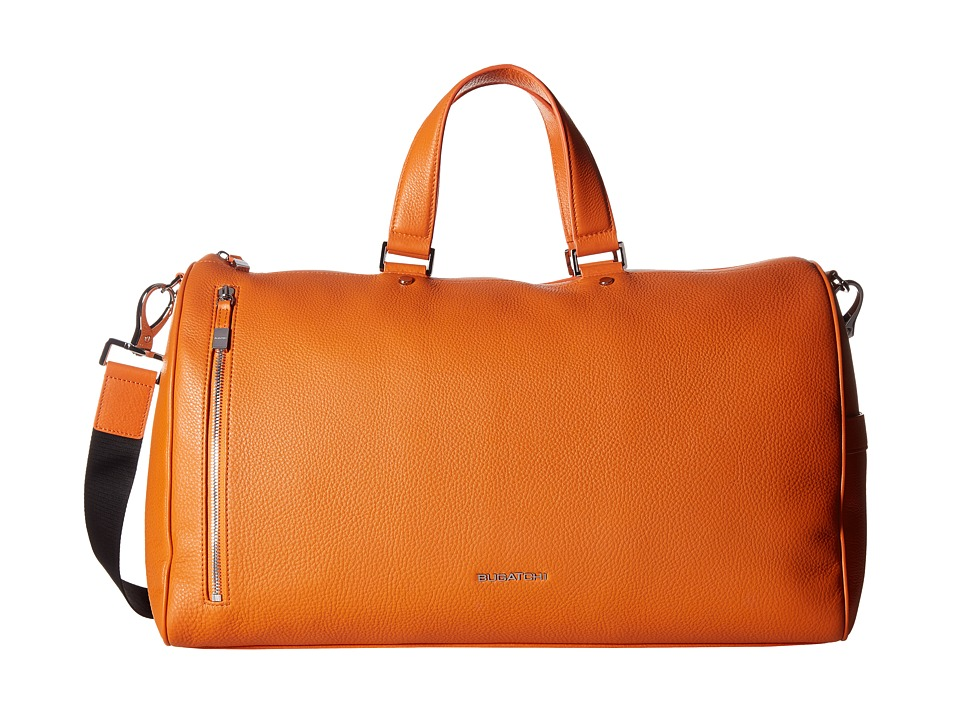 BUGATCHI Pebble Leather Full Grain Leather Weekender Duffel Bag (Orange) Duffel Bags