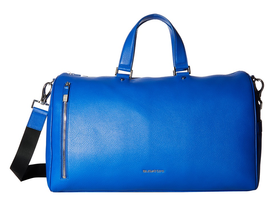 BUGATCHI Pebble Leather Full Grain Leather Weekender Duffel Bag (Royal) Duffel Bags