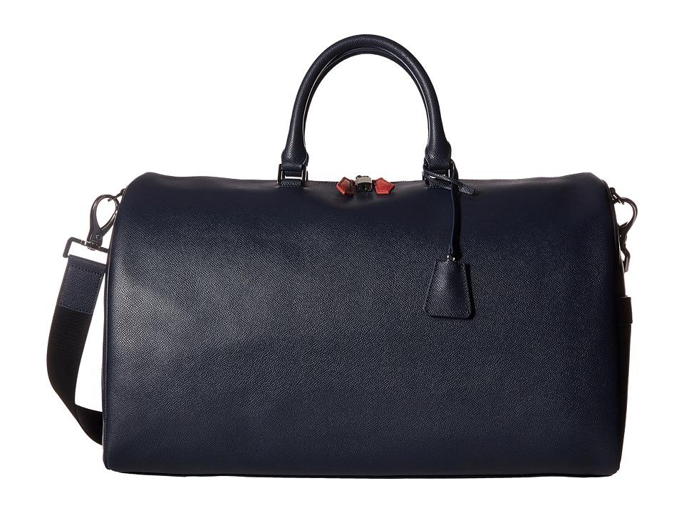 BUGATCHI Semi Embossed Leather Weekender Duffel Bag (Navy) Duffel Bags