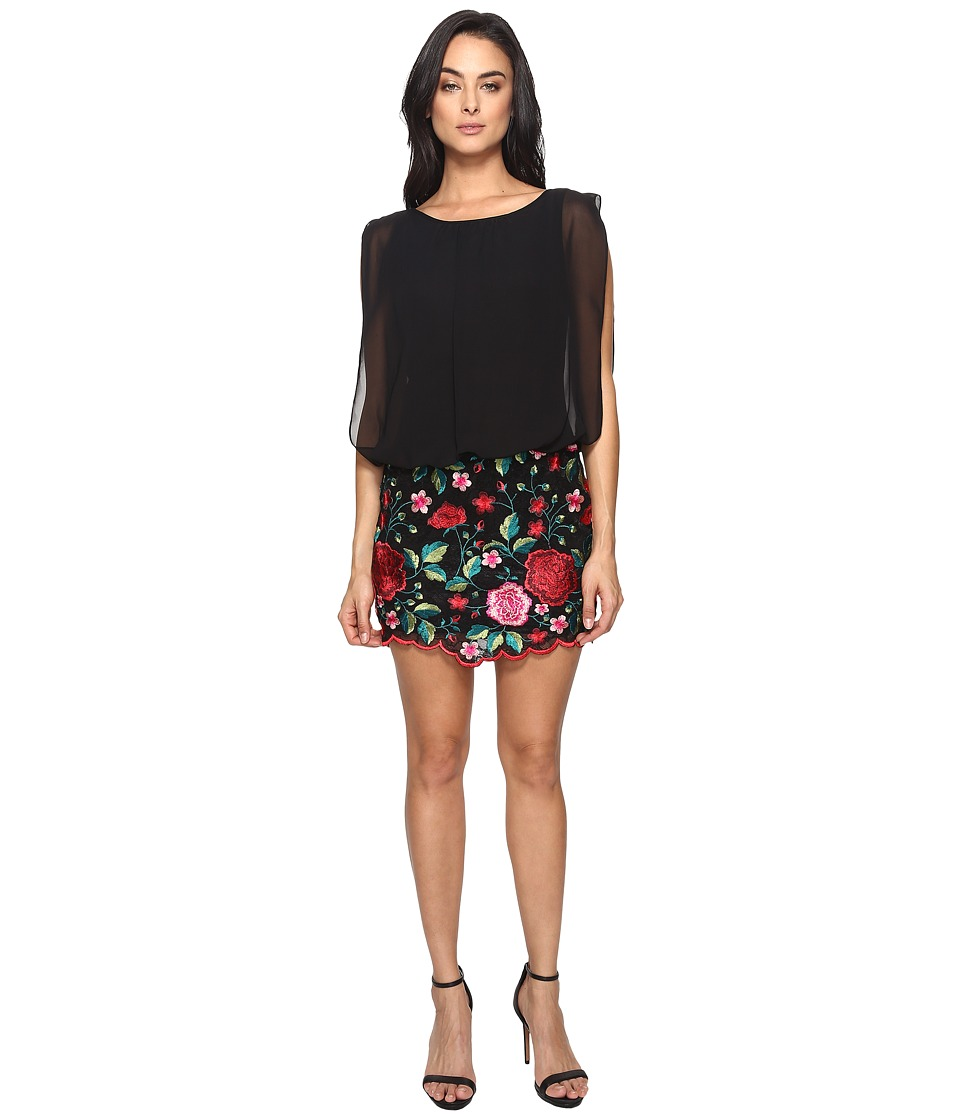 Aidan Mattox Blousson Cocktail Dress with Multi Colored Embroidered Floral Lace Skirt (Red/Multi) Women