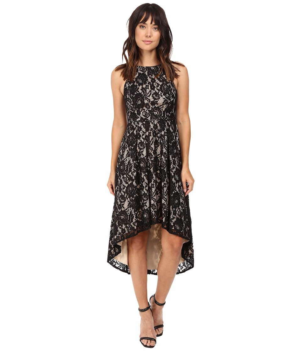 Aidan Mattox Stretch Lace Cocktail Dress with High-Low Hem Detail (Black/Nude) Women