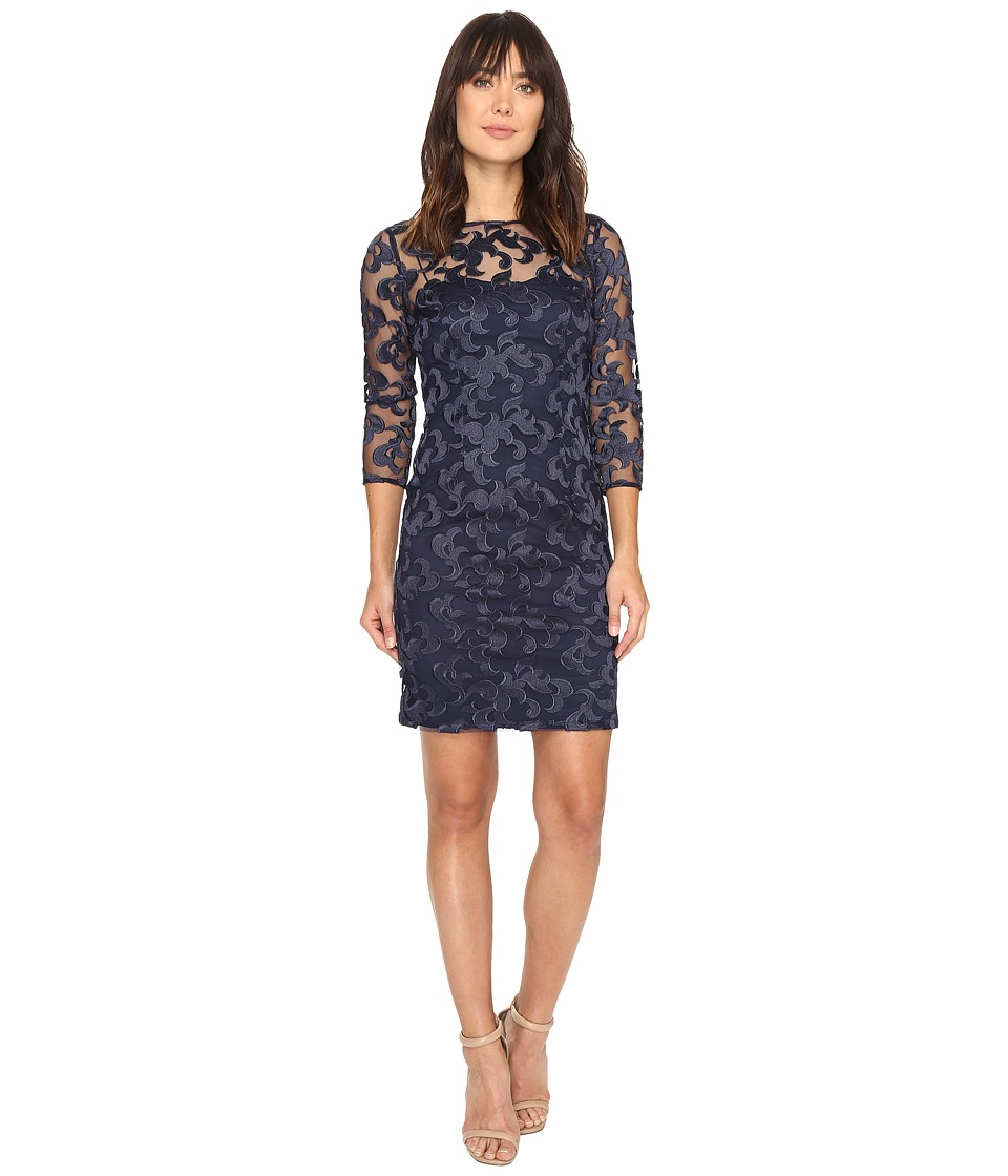 Aidan Mattox Long Sleeve Embroidered Mesh Cocktail Dress with Boat Neck (Navy) Women
