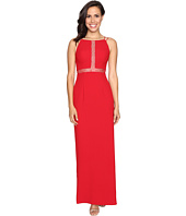 Aidan Mattox - Long Crepe Column Gown with Illusion Detail
