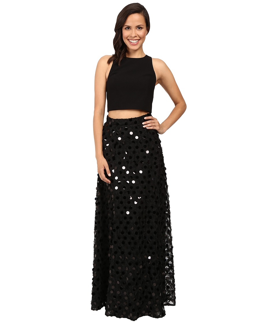 Aidan Mattox Two-Piece Solid Crepe Halter Top with Embellished A-Line Ball Skirt (Black) Women