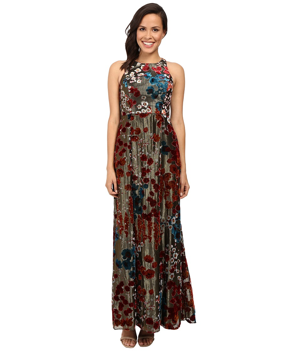 Aidan Mattox Long Metallic Burnout Gown (Metallic Gold) Women