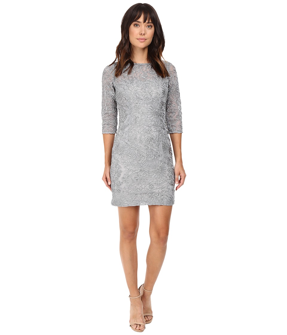 Aidan Mattox Long Sleeve Soutache Cocktail Dress (Silver) Women
