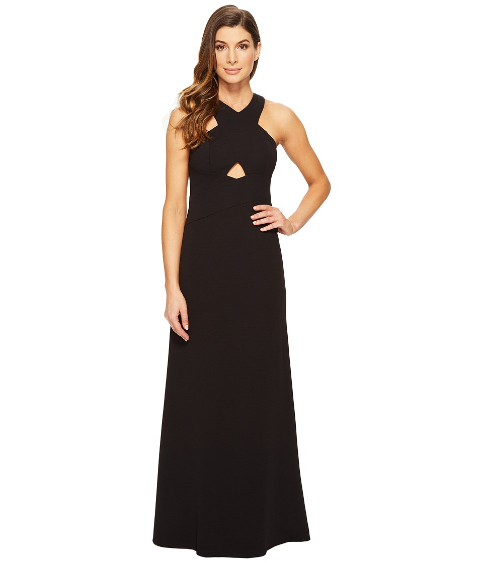 Aidan Mattox Scuba Crepe Long Gown with Cut Out Detail and Open Back (Black) Women