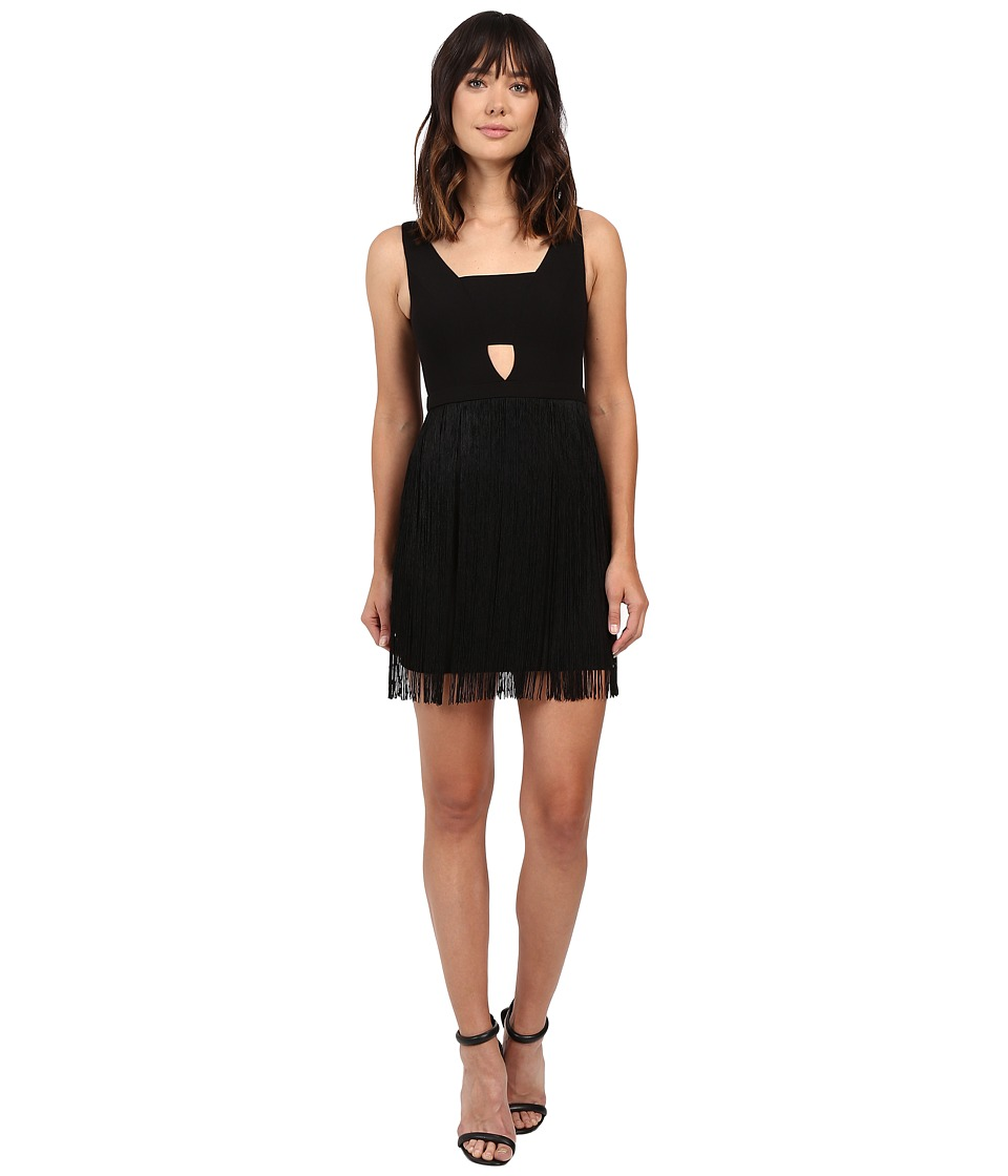 Aidan Mattox Cocktail Tank Dress with Fringe Skirt and Keyhole Detail (Black) Women