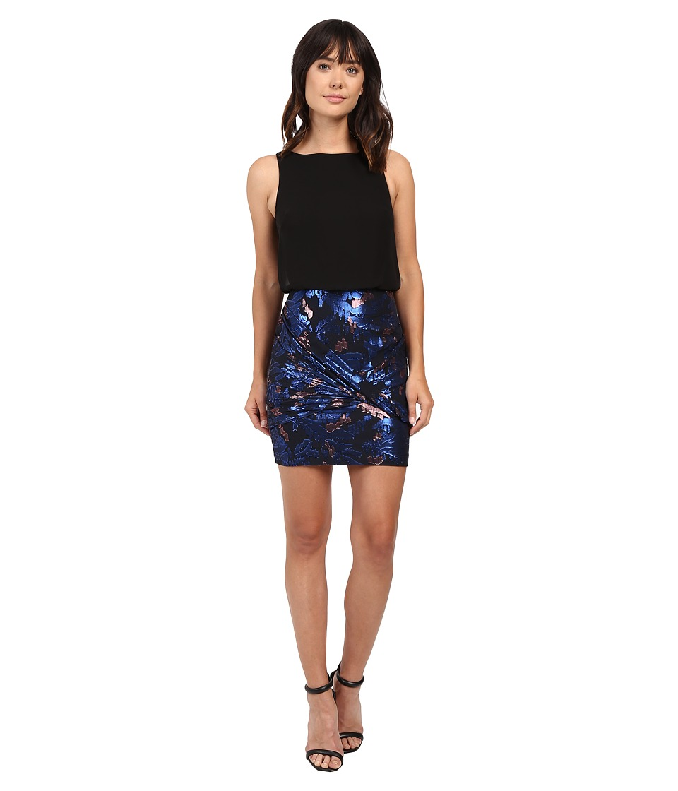 Aidan Mattox Sleeveless Blousson Top with Foil Jacquard Skirt (Blue/Multi) Women
