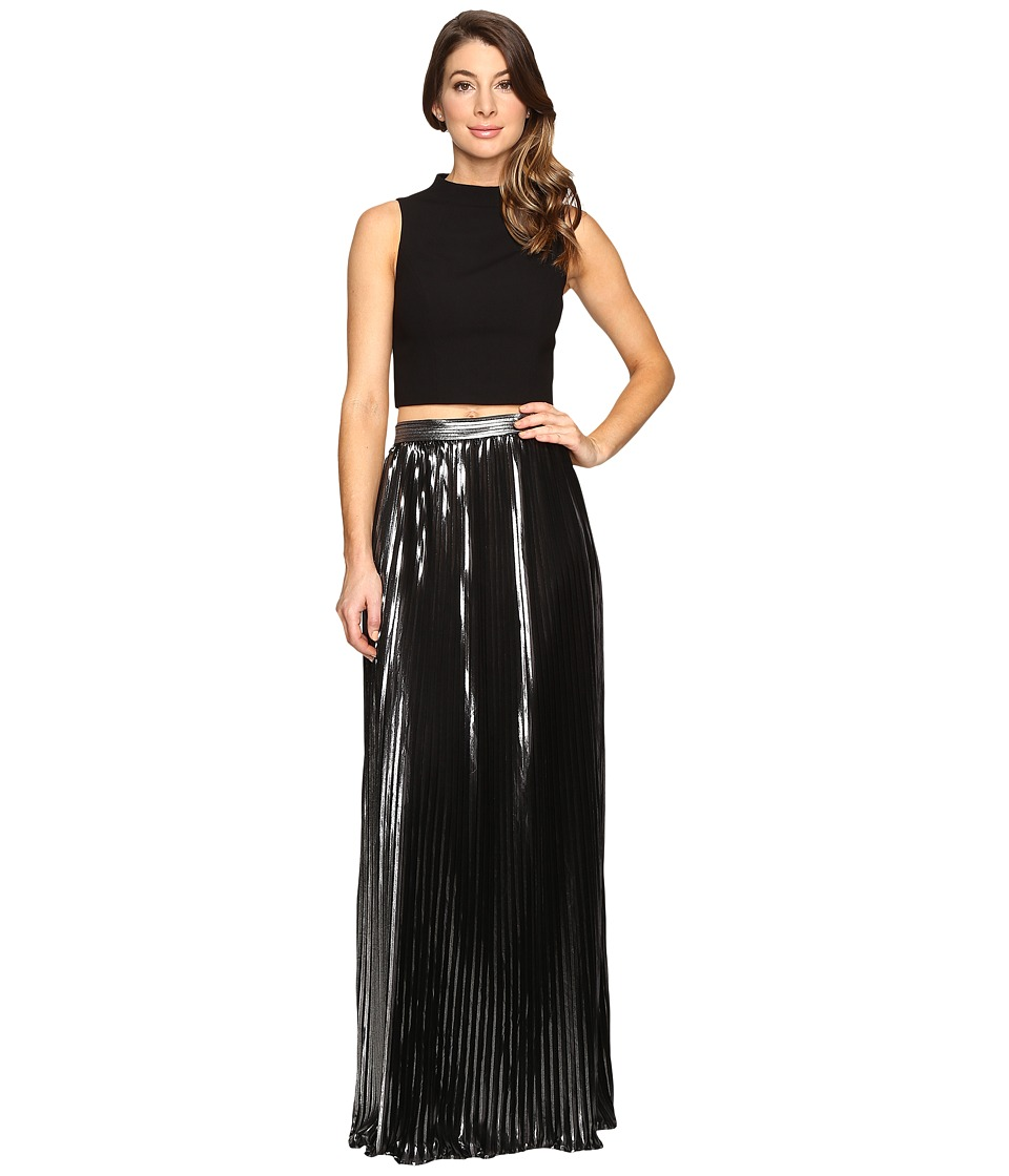 Aidan Mattox Two-Piece Crepe Halter Top with Pleated Foil Shimmer Skirt (Black/Silver) Women