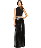 Aidan Mattox - Two-Piece Crepe Halter Top with Pleated Foil Shimmer Skirt