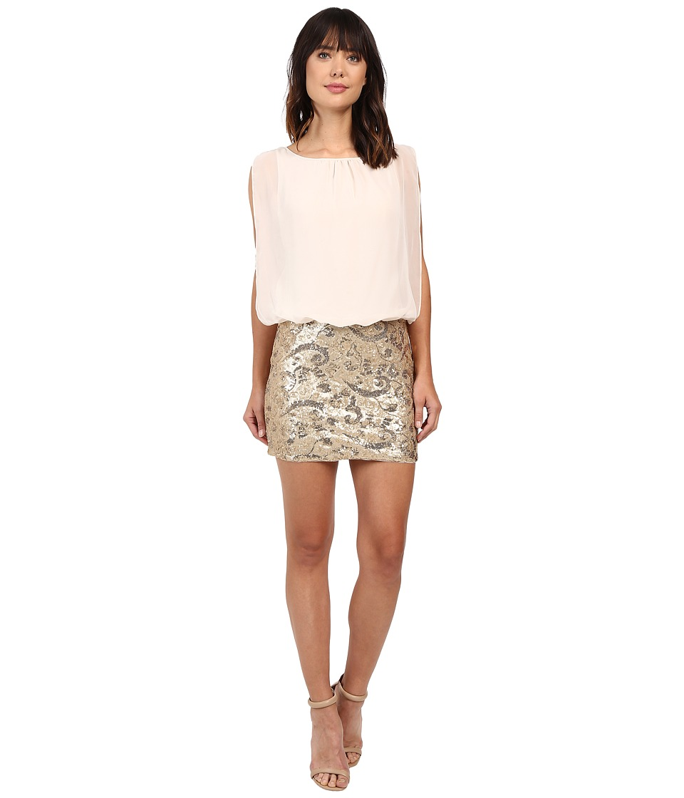 Aidan Mattox Blouson Cocktail w/ Sequin and Bead Skirt (Metallic Gold) Women