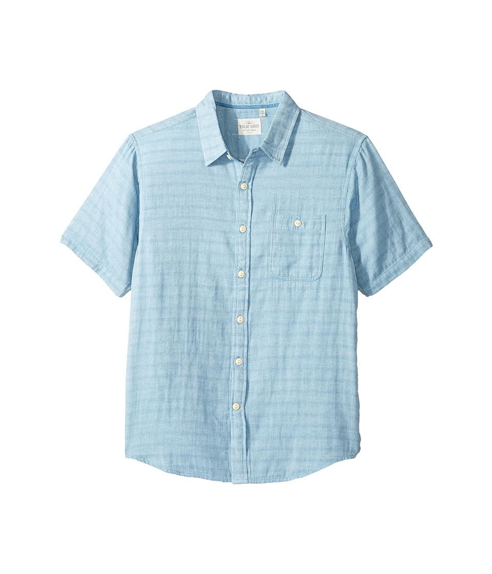 True Grit - Indigo Surf Plaid One-Pocket Short Sleeve Shirt Double Light Combed Cotton