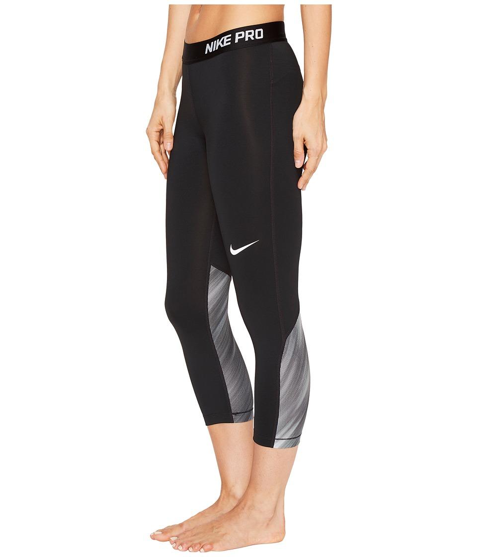 Nike Pro Cool Light Streak Print Training Capri (Black/Black/White) Women