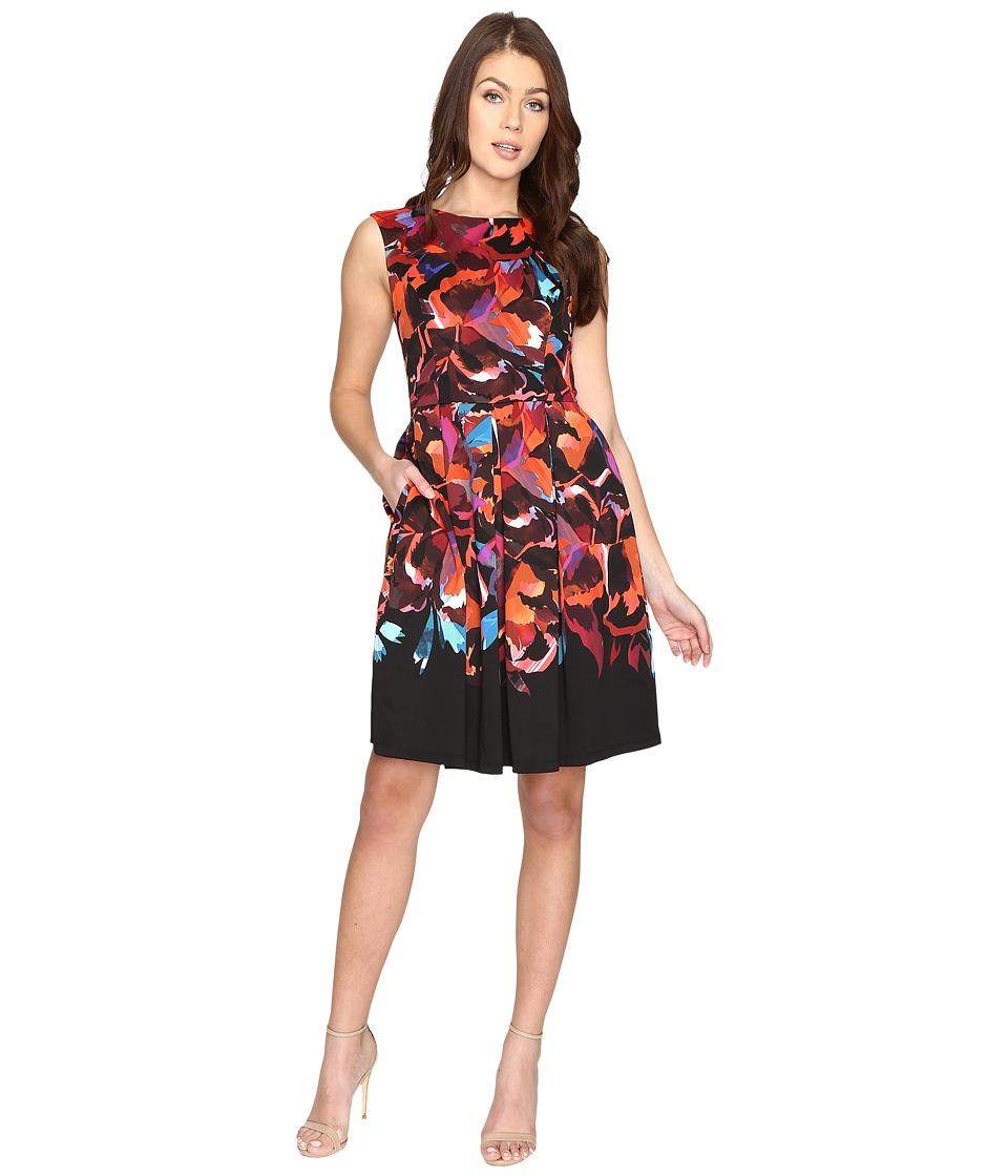Maggy London Techno Blossom Scuba Fit and Flare Dress (Black/Multi) Women