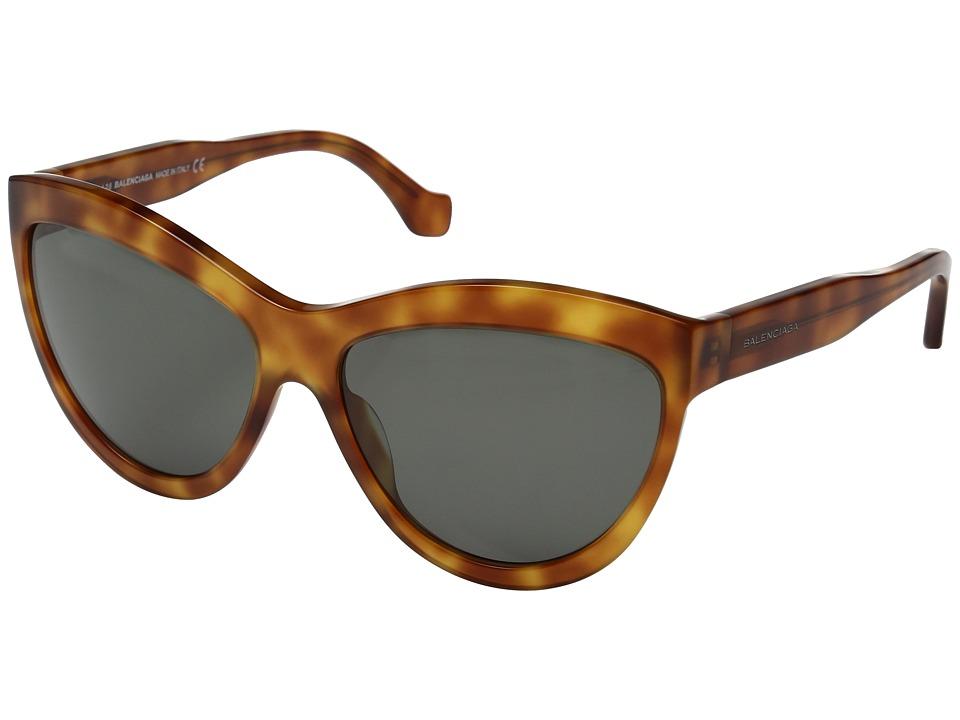 Balenciaga - BA0090 (Light Havana/Green) Fashion Sunglasses