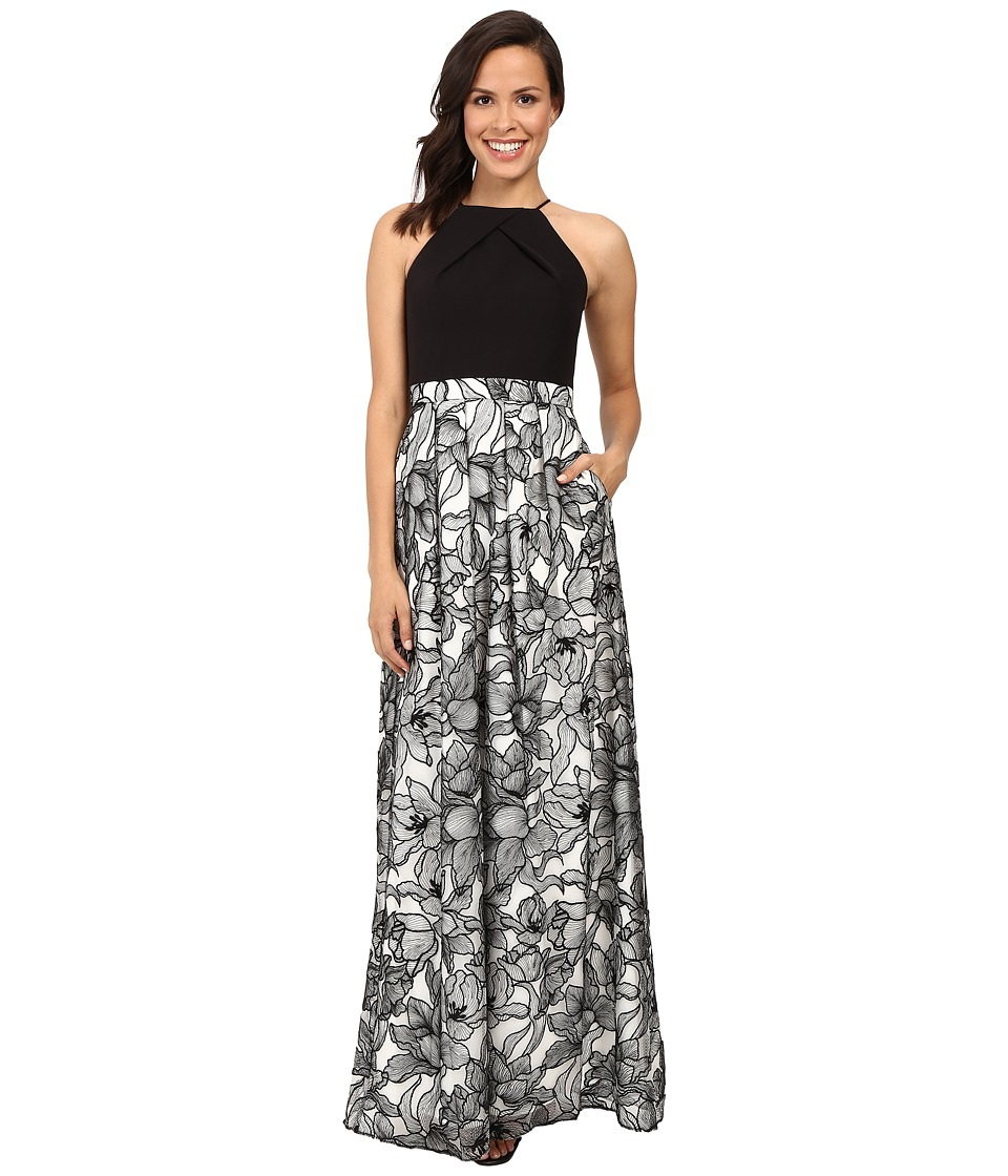 Aidan Mattox - Halter Neck Gown with Embroidered Lace Skirt