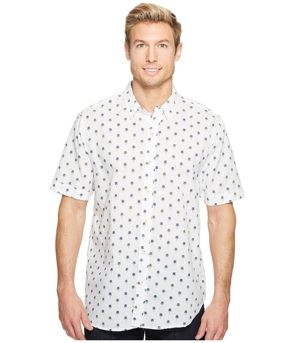 True Grit - Paradise Palm Short Sleeve Cotton and Linen Shirt w/ Stitch Details