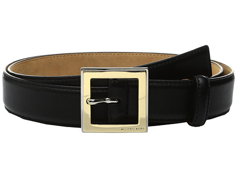 MICHAEL Michael Kors 32mm Smooth Feather Edge Belt on Two-Tone Center Bar Buckle