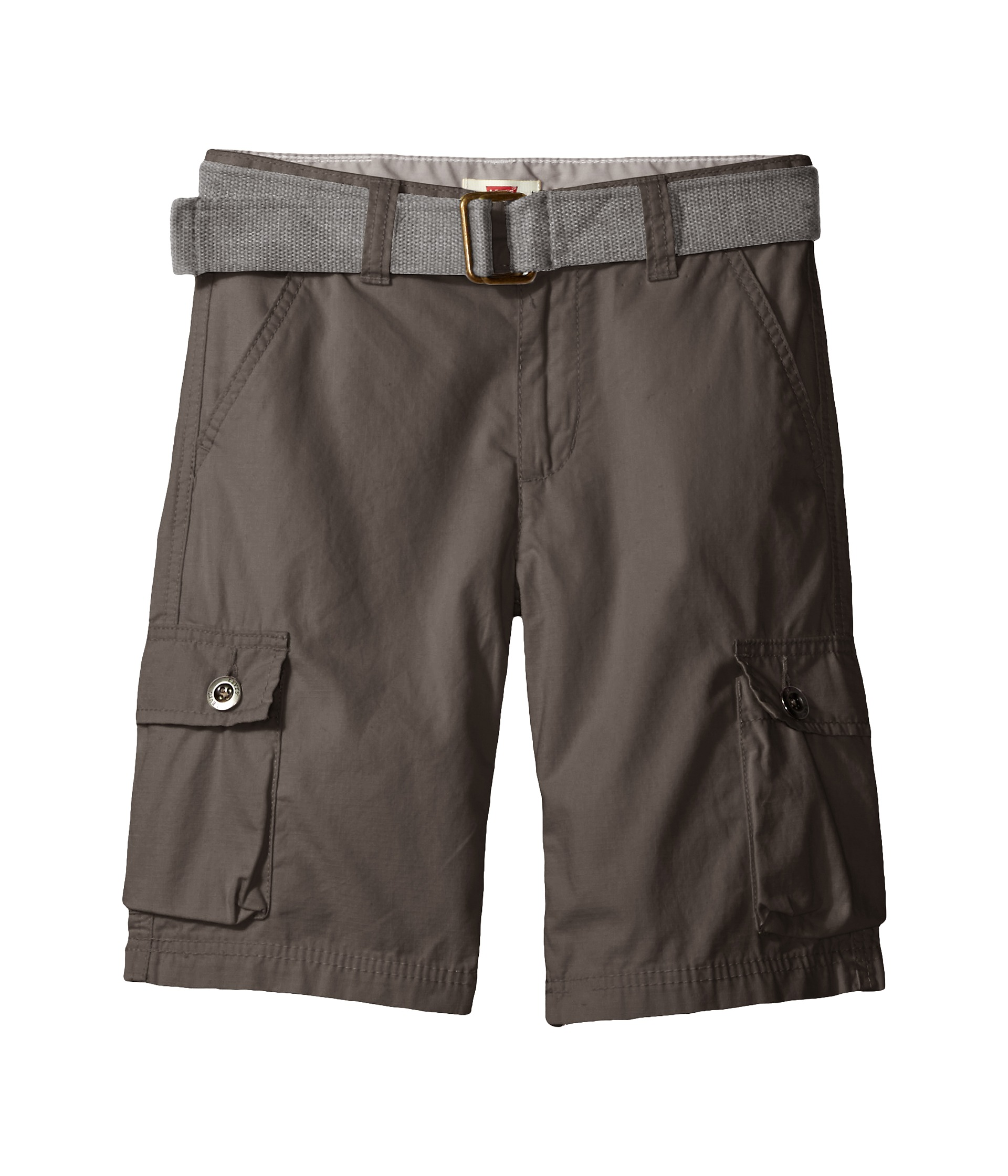 Cargo shorts with stretchy twill for extra comfort and lots of pockets! Two front pockets, two side button pockets, two back button pockets, logo patch on left leg. Imported.