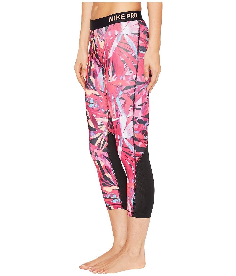 Nike Pro Cool Painted Palms Print Training Capri (Vivid Pink/White) Women