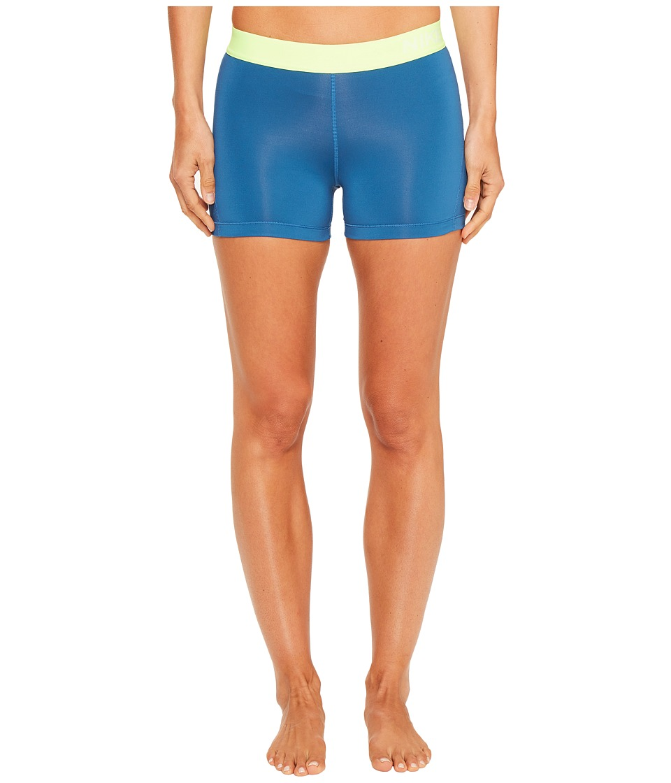 Nike Pro 3 Cool Compression Training Short (Industrial Blue/Ghost Green/White) Women