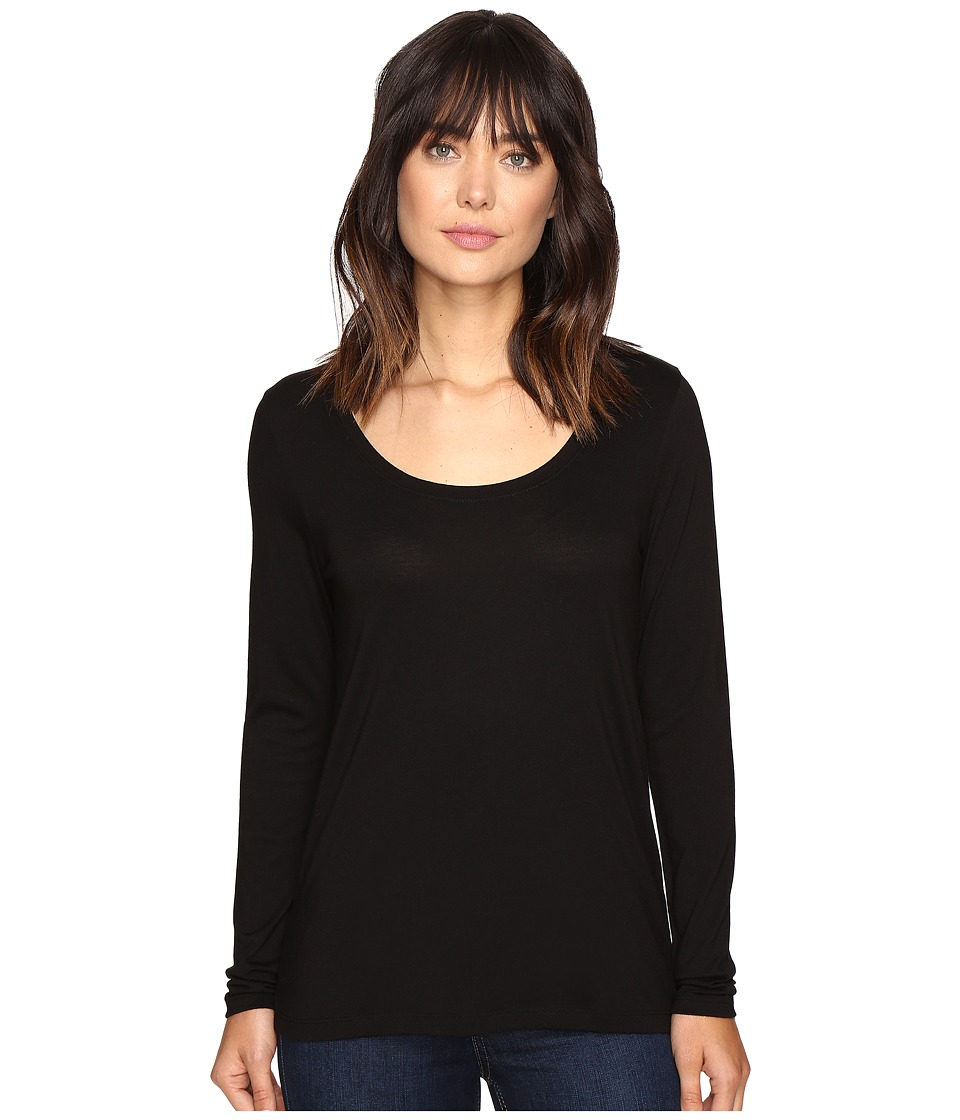 Lilla P - Pima Modal Long Sleeve Scoop Neck (Black) Womens Clothing
