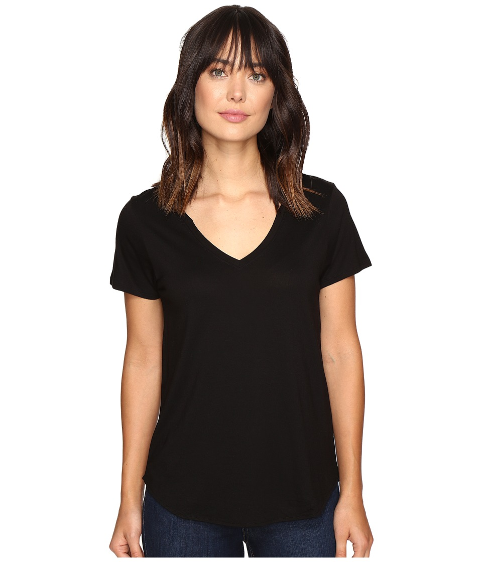 Lilla P - Pima Modal Short Sleeve V-Neck (Black) Womens Clothing