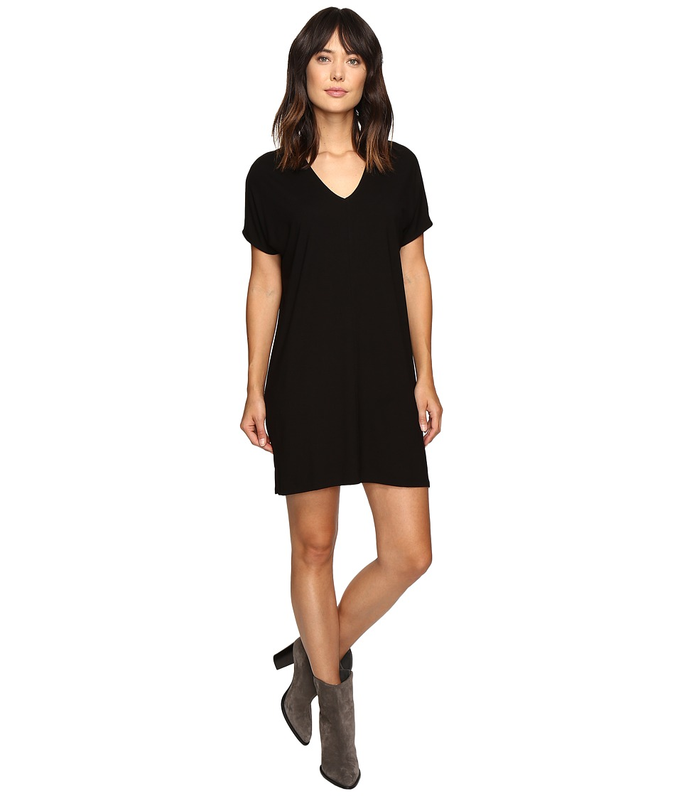 Lilla P Stretch Jersey Short Sleeve V-Neck Dress (Black) Women