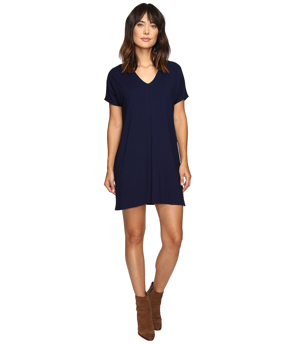 Lilla P Stretch Jersey Short Sleeve V-Neck Dress (Navy) Women