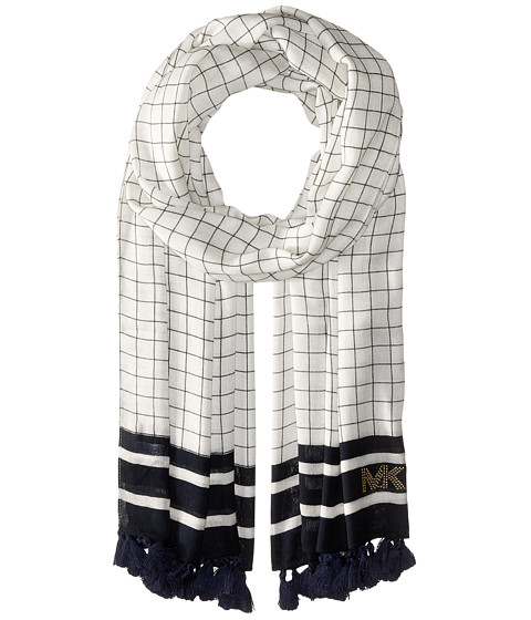 MICHAEL Michael Kors Windowpane Printed Oblong with Tassels - Navy