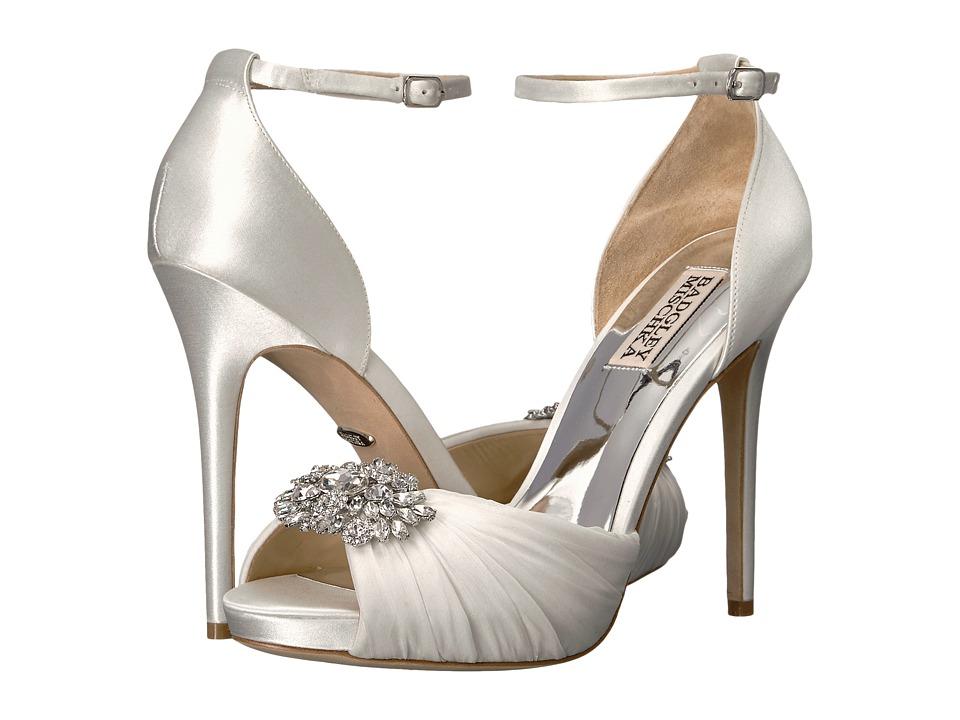 Badgley Mischka Tad (White Satin/Silk Chiffon) High Heels