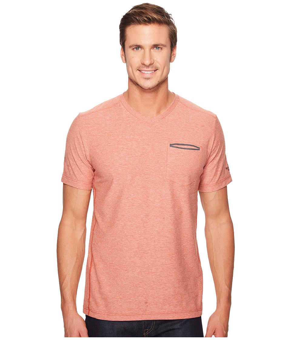 The North Face Short Sleeve FlashDry Heather V-Neck (Ketchup Red Heather) Men